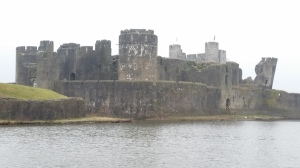 Caerphilly Castle with leaning tower