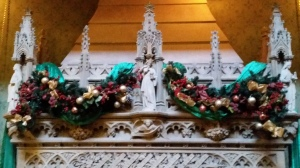 Christmas decorations over Tyntesfield fireplace
